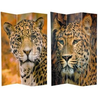 Canvas 6-foot Double-sided Leopard Room Divider (China)