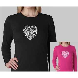 Los Angeles Pop Art Women's Heart Long-Sleeved Crewneck Top (More options available)