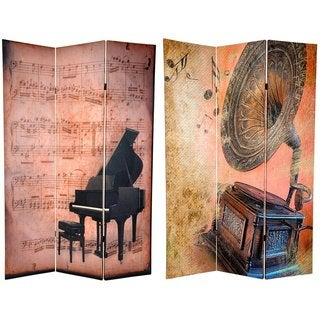 Handmade Canvas 6-foot Double-sided Piano/ Phonograph Room Divider (China)
