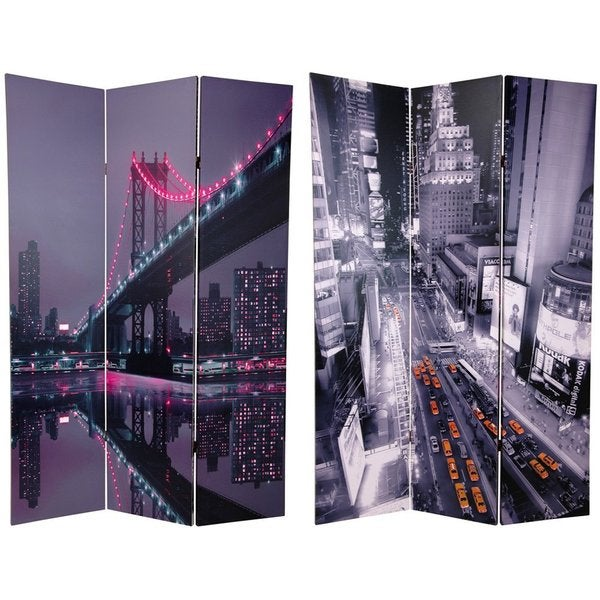 Handmade Canvas 6-foot Double-sided New York State of Mind Room Divider (China)
