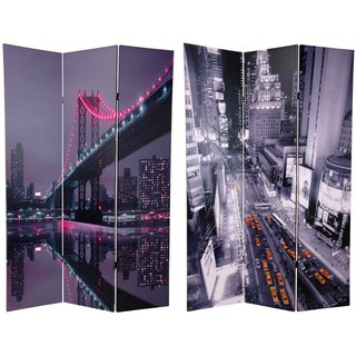 Handmade Canvas 6-foot Double-sided New York State of Mind Room Divider (China) - 70.8 x 48