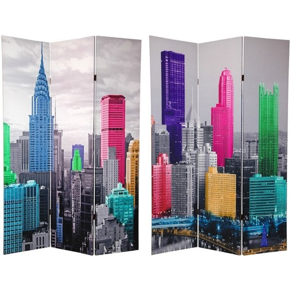 Handmade Wood and Canvas Double-sided New York Scene Room Divider (China)