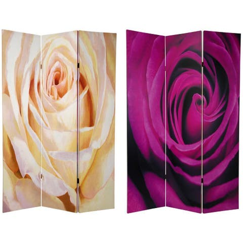 Handmade 6' Canvas Solitaire Rose Room Divider
