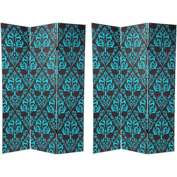 Handmade Canvas 6-foot Double-sided Blue Damask Room Divider (China)