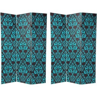 Canvas 6-foot Double-sided Blue Damask Room Divider (China)
