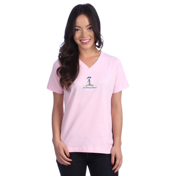 Women's 'Just Putting Around' Light Pink V-neck Tee