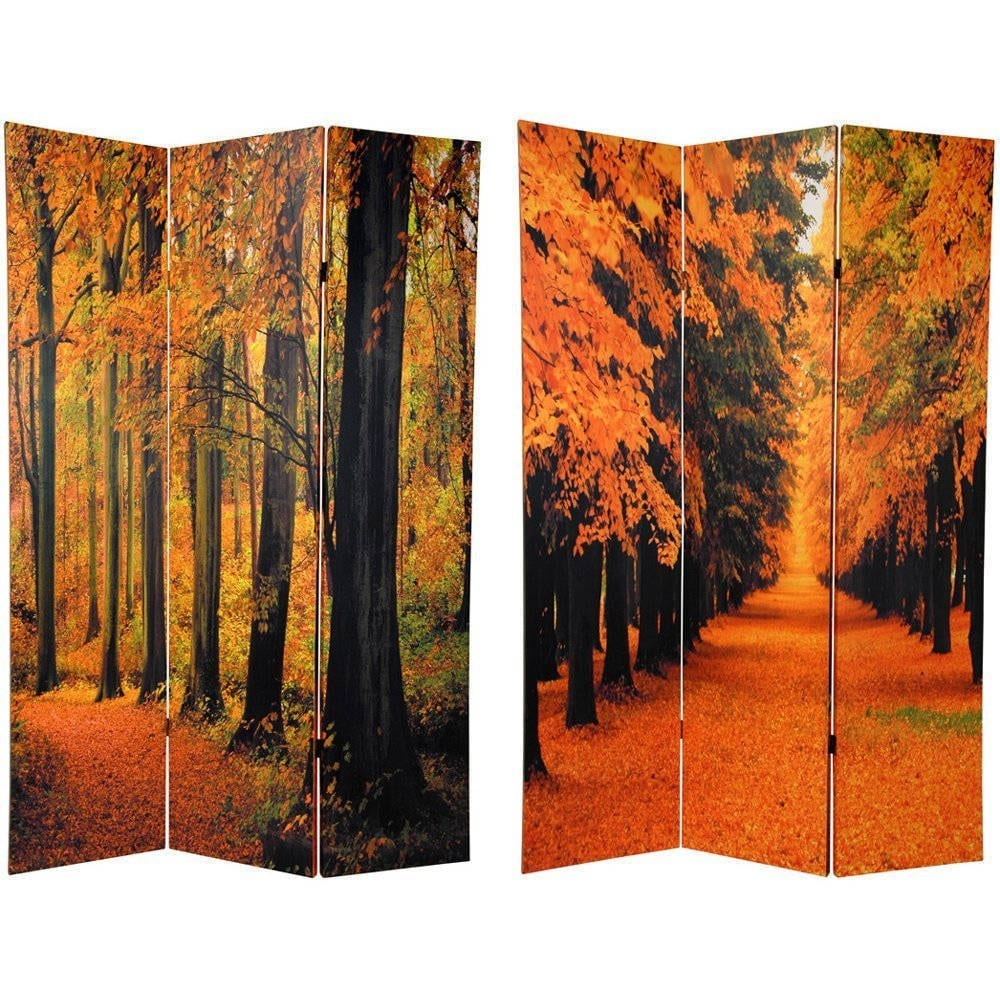 Canvas 6-foot Double-sided Autumn Trees Room Divider (Chi...