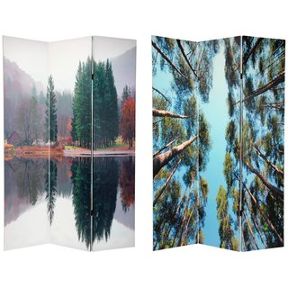 Canvas 6-foot Double-sided Trees Room Divider (China)