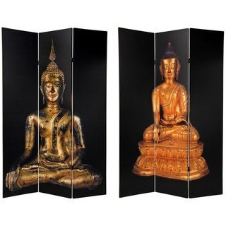 Handmade Canvas 6-foot Double-sided Thai Buddha Room Divider (China)