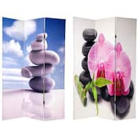 Handmade Canvas 6-foot Double-sided Zen Room Divider (China)
