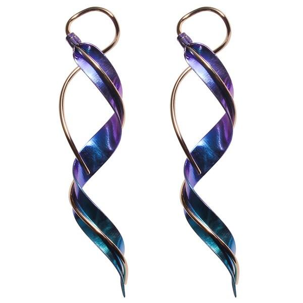 Gold-filled Niobium Handmade Spiral Dangle Earrings