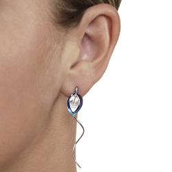 Journee Collection  Sterling Silver and Niobium Lily Spiral Earrings - Thumbnail 2