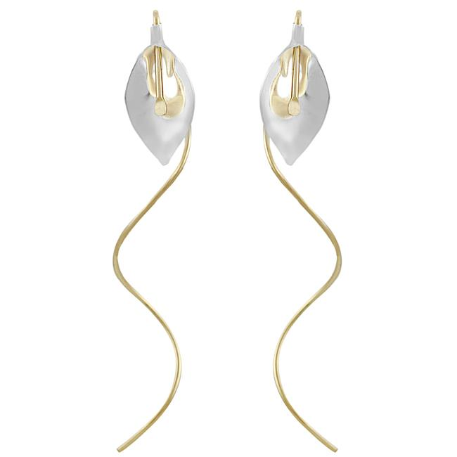 Journee Goldfill and Sterling Silver Two-tone Calla Lily Spiral Earrings
