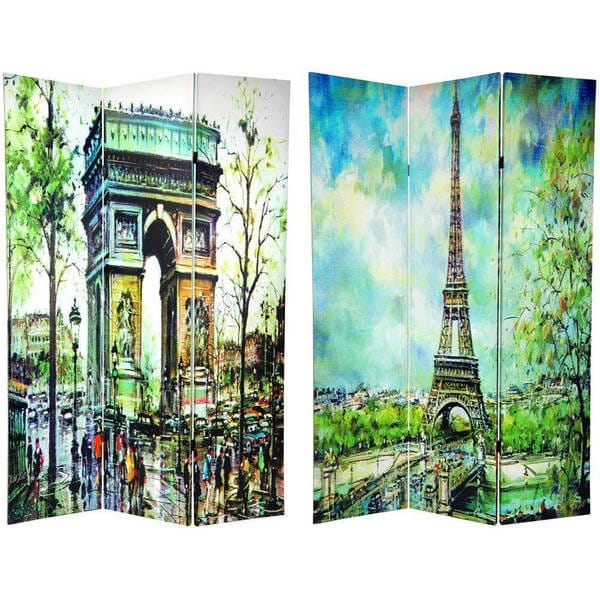 Handmade Canvas 6-foot Double-sided Paris Room Divider (China)