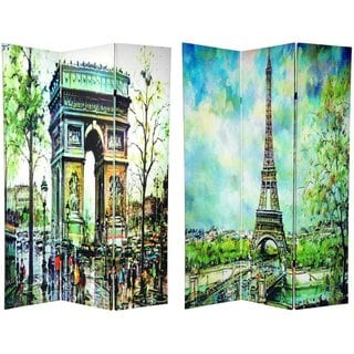Canvas 6-foot Double-sided Paris Room Divider (China)
