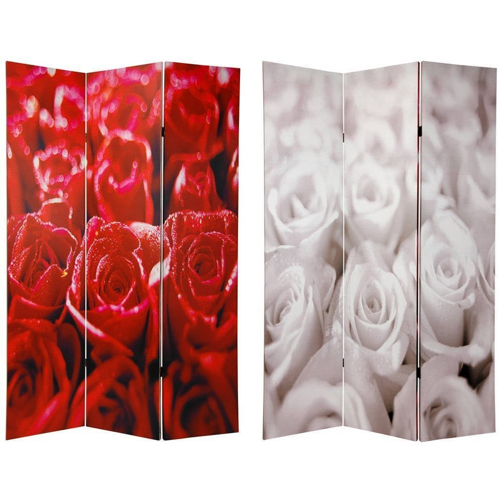 Canvas 6-foot Double-sided Roses Room Divider (China) (6 ...