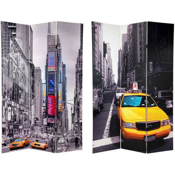 Handmade Canvas 6 Foot Double Sided New York Taxi Room Divider China