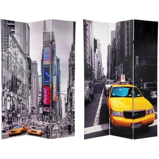 Handmade Canvas 6-foot Double-sided New York Taxi Room Divider (China)