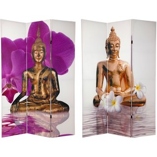 6-Foot Tall Canvas Double-Sided Thai Buddha Room Divider
