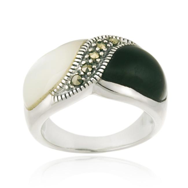 Glitzy Rocks Sterling Silver Onyx Mother of Pearl and Marcasite Ring