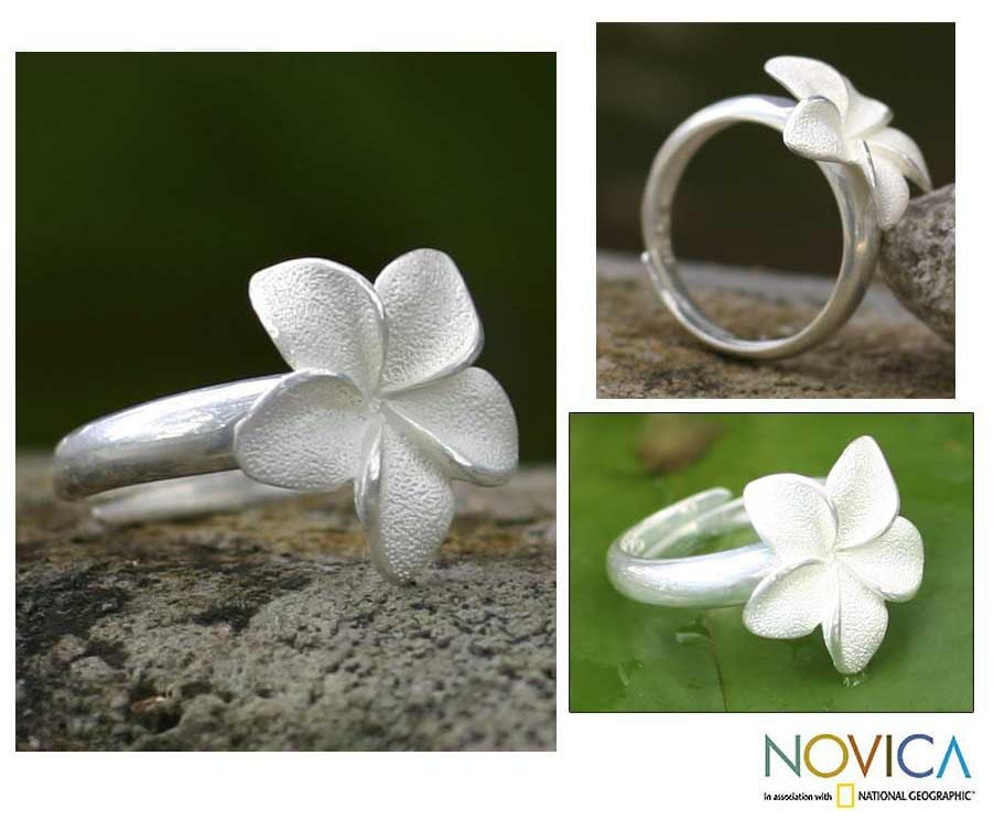 Handmade Sterling Silver 'Frangipani' Ring (Indonesia)