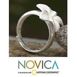 Handmade Sterling Silver 'Frangipani' Ring (Indonesia)