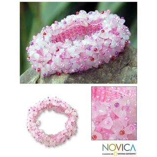 Handmade 'Perfect in Pink' Rose Quartz Stretch Bracelet (Thailand)