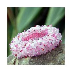 Handmade 'Perfect in Pink' Rose Quartz Stretch Bracelet (Thailand)