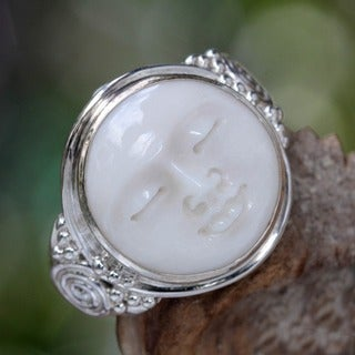 Sterling Silver Men's 'Face of the Moon' Ring (Indonesia)