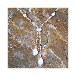 Silver 'Ethereal' Freshwater Pearl Y Necklace (5-10 mm) (Thailand)