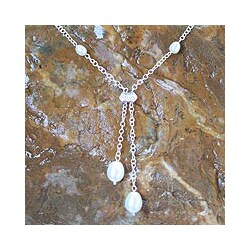 Handmade Silver 'Ethereal' Freshwater Pearl Y Necklace (5-10 mm) (Thailand)