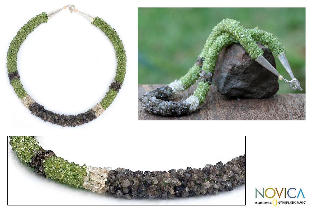 'Summer Sensation' Peridot Labradorite Beaded Necklace (Thailand)