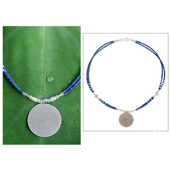 Handmade Sterling Silver 'Mind Journey' Lapis Lazuli Necklace (Thailand)