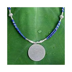 Sterling Silver 'Mind Journey' Lapis Lazuli Necklace (Thailand)
