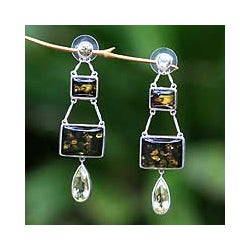 Sterling Silver 'Prosperity' Amber Dangle Earrings (Indonesia)