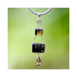 Sterling Silver 'Prosperity' Amber Dangle Necklace (Indonesia)
