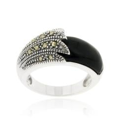 Glitzy Rocks Sterling Silver Freeform Onyx and Marcasite Ring