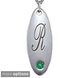 Chroma Sterling Silver May Birthstone Initial Necklace Made with Swarovski Element GEMS