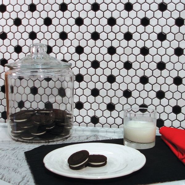 SomerTile 10.25x11.75-inch Victorian Hex White with Black Dot Porcelain Mosaic Floor and Wall Tile (10 tiles/8.56 sqft.)