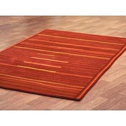 Hand-Tufted Lineage Orange Wool Rug (5' x 8') - Thumbnail 1