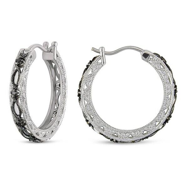 Miadora Sterling Silver 1/10ct TDW Black Diamond Earrings