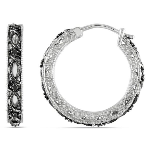 Miadora Sterling Silver 1/10ct TDW Black Diamond Earrings. Opens flyout.
