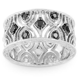 Miadora Sterling Silver 1/3ct TDW Black Diamond Ring