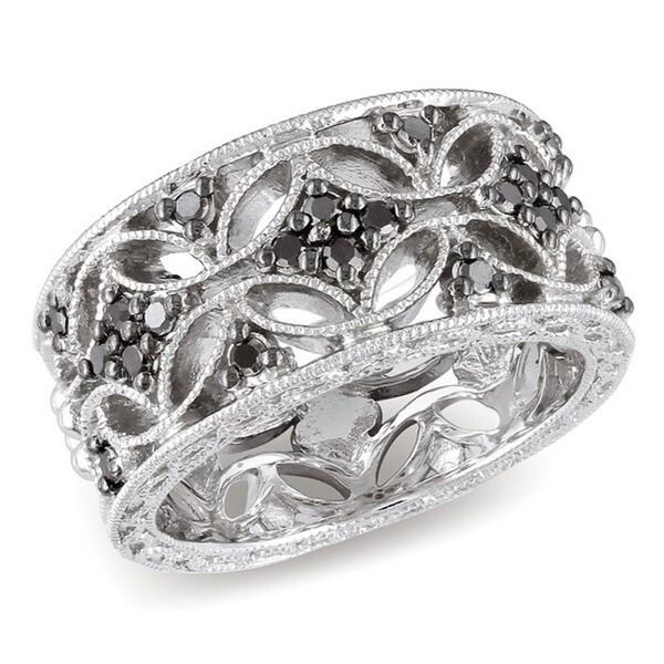 Miadora Sterling Silver 1/3ct TDW Round-cut Black Diamond Ring