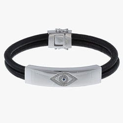 Victoria Kay Sterling Silver 1/6ct TDW Diamond Leather Evil Eye Bracelet (J, I2-I3)