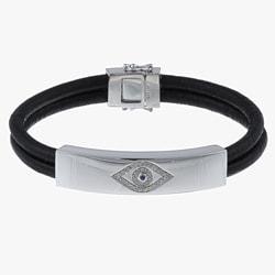 Victoria Kay Sterling Silver 1/6ct TDW Diamond Leather Evil Eye Bracelet (J, I2-I3)