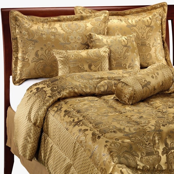 Park 7-piece Beige/ Champagne/ Blue Comforter Set