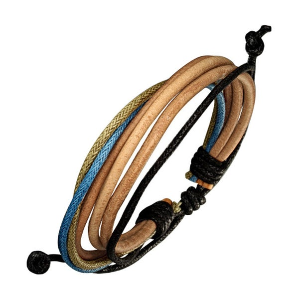 Genuine Leather Bracelet with Accent