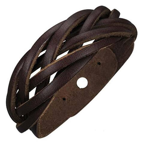 Genuine Leather Brown 'Unity Weave' Bracelet