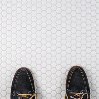 SomerTile 10.25x11.75-inch Victorian Hex Glossy White Porcelain Mosaic Floor and Wall Tile (10 tiles/8.56 sqft.)